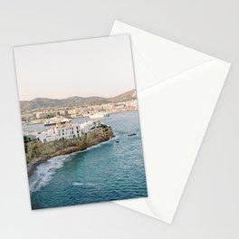 "Travel photography ""Ibiza Dalt Vila"" | Modern wall art Ibiza Spain coast white tones sunset Stationery Cards"