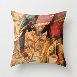 African Patterned Elephants Throw Pillow