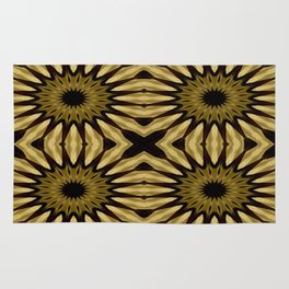 Subdued Gold Pinwheel Flowers Rug