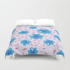 Gentle Blue Flowers Pattern Duvet Cover
