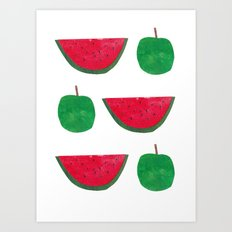 Watermelon & Apple Art Print
