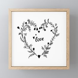 Floral heart Framed Mini Art Print