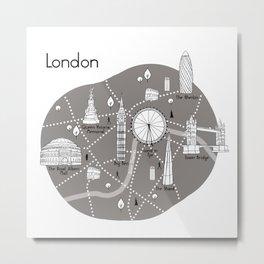 London Map -Grey Metal Print