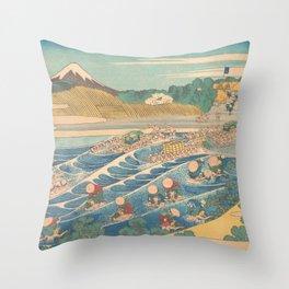 Fuji Seen from Kanaya on the Tōkaidō, Series Thirty-six Views of Mount Fuji by Katsushika Hokusai Throw Pillow