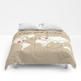 Personalized World Map Love Story Comforters