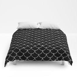 Black & Silver Mermaid Scales Pattern Comforters