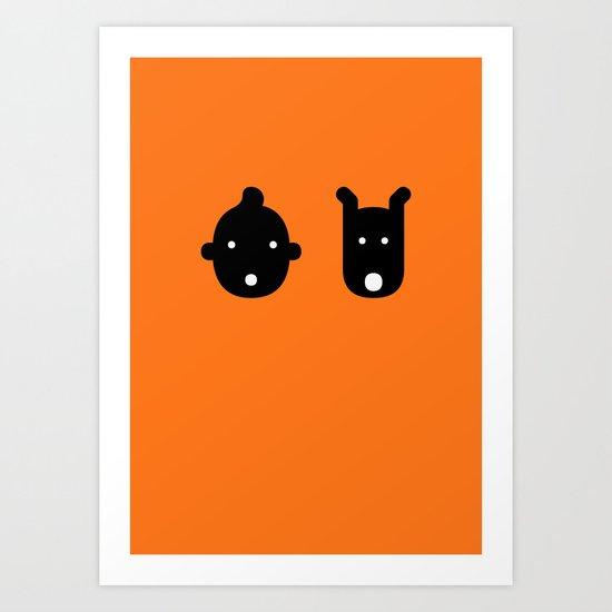 tintin & milu Art Print