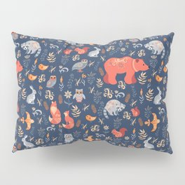 Fairy-tale forest. Fox, bear, raccoon, owls, rabbits, flowers and herbs on a blue background. Seamle Pillow Sham