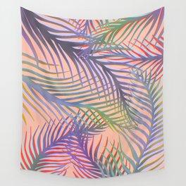 Palm Leaves Pattern - Purple, Peach, Blue Wall Tapestry