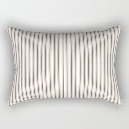 Mattress Ticking Narrow Striped Pattern in Chocolate Brown and White Rectangular Pillow