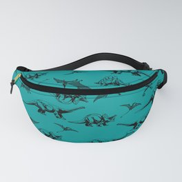 Dinosaur on Teal Background Fanny Pack