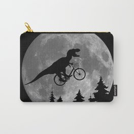 Biker t rex In Sky With Moon 80s Parody Carry-All Pouch