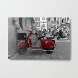 Red Vintage Vespa  PX 125 E in Nice French Riviera Metal Print
