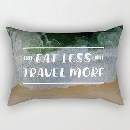 Eat Less, Travel More in Beach Background Rectangular Pillow