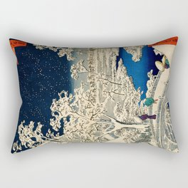 Ukiyo-e, Ando Hiroshige, Yuhi Hill and the Drum Bridge at Meguro Rectangular Pillow