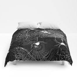 Black and White Spider Webs Pattern Comforters