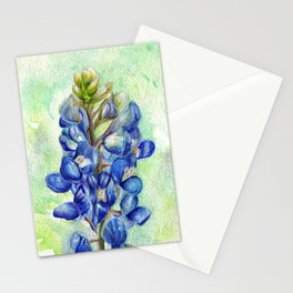 Texas Bluebonnets - Blue and green wildflower art Stationery Cards