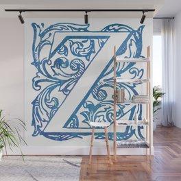 Letter Z Elegant Vintage Floral Letterpress Monogram Wall Mural