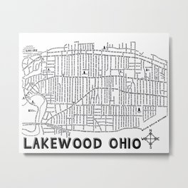 Lakewood Ohio Map Metal Print