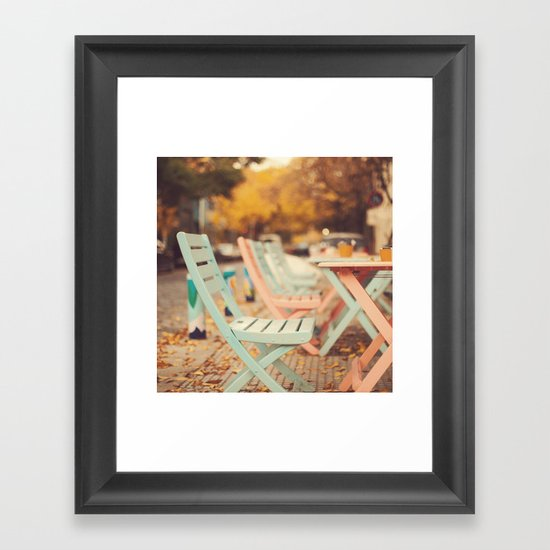 Dream Autumn (Pink and blue coffee shop chairs on retro and vintage fall) Framed Art Print