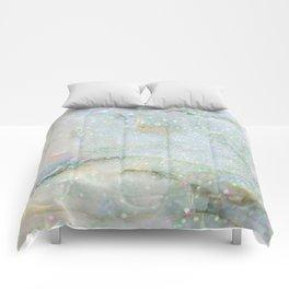Elegant Aqua Marble with Flecks of Diamond Glitter Comforters