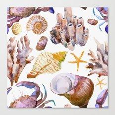 Crab & Coral Watercolor Pattern Canvas Print
