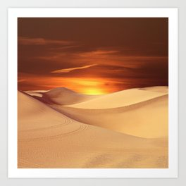 The Sunset On Desert Art Print