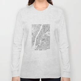 New York City White Map Long Sleeve T-shirt