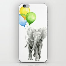 Elephant Watercolor Baby Animal with Balloons - Blue Yellow Green iPhone & iPod Skin