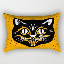 Vintage Type Halloween Black Cat Face Stars Orange Rectangular Pillow