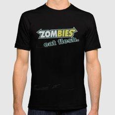 Zombie Eat flesh MEDIUM Black Mens Fitted Tee