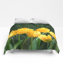 Yellow Tulips with Pattern Comforters