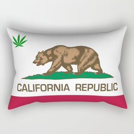California Republic state flag with green Cannabis leaf Rectangular Pillow
