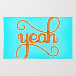 YEAH (BRIGHT HAND LETTERED TYPOGRAPHY ART) Bright Baby Sky Blue and Orange Rug