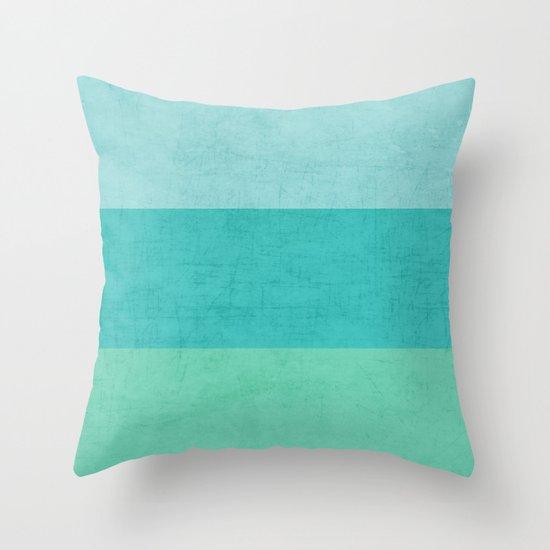 three stripes - teal Throw Pillow