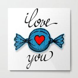 I love you (blue) Metal Print