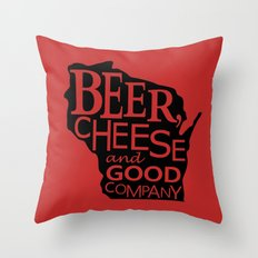 Red and Black Beer, Cheese and Good Company Wisconsin Graphic Throw Pillow