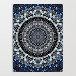 Dark Blue Grey Mandala Design Poster