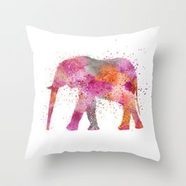Artsy watercolor Elephant bright orange pink colors Throw Pillow
