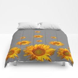RAINING GOLDEN YELLOW SUNFLOWERS GREY Comforters