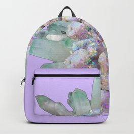 GLITTERING GREEN & PURPLE QUARTZ CRYSTALS ART Backpack