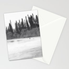 Foggy morning at the beach in black and white Stationery Cards