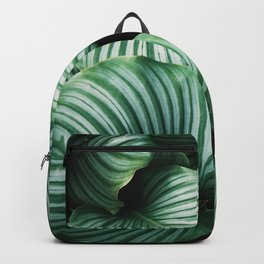 Tropical Leaves Abstract Art Green Texture Floral Design Backpack