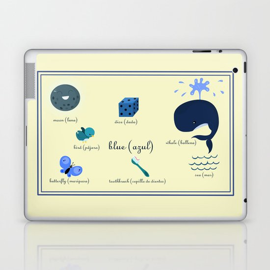 Colors: blue (Los colores: azul) Laptop & iPad Skin