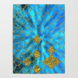 Blue Aqua Turquoise And Gold Glitter Mermaid Scales -Beautiful Mermaidscales Pattern Poster