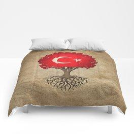 Vintage Tree of Life with Flag of Turkey Comforters