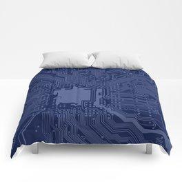 Blue Geek Motherboard Circuit Pattern Comforters