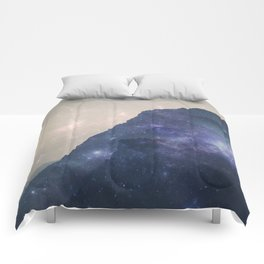 Lost in Space - Mountains with mist and stars Comforters