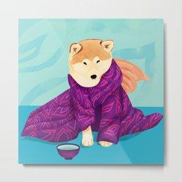 Shiba Inu Wearing a Purple Kimono, Enjoying Matcha Tea Metal Print