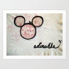 Adorable Mouse Fleur de lis Painting Art Print
